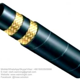 "Supply Hydraulic Hose SAE 100 R2A; Application: High pressure hydraulic oil lines used in construction, machine tool and agricultural applications using petroleum or water based hydraulic fluids; Tube: NBR, Cover: CR; Reinforcement: Two layers of high-tensil steel wire braid; Surface: Wrapped and Smooth; Working Pressure: 80~415 bar, Burst Pressure: 30~1660 bar; Working Temperature: -40~120℃; Size Range: 3/16""~2"""