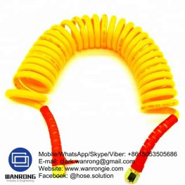 Supply Nylon Spiral Hose Assembly; Application: For use with pneumatic tools; Special Features: Fitted hose with spring guards; Tube: PA Nylon, Cover: Smooth Nylon; WP: 175 psi; Temperature: -40°C to 90°C; Size Range: 6mm to 12mm