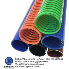 Supply PVC Suction Hose; Application: Ideal for vacuum pumps, agricultural machines, water Irrigation and chemical plants; Special Features: Non-Toxic, Non-conductive; Tube: PVC, Cover: PVC; Reinforcement: Wire helix; WP: *102 to 20 psi; Temperature: -5°C to 60°C; Size Range: 12.5mm to 150mm