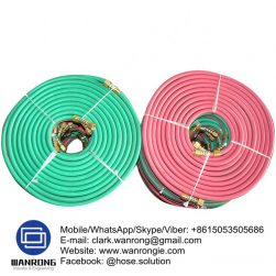 Supply Twin Line Welding Hose; Application: For welding and cutting equipment; Tube: NR/SBR, Cover: SBR/EPDM blend; Reinforcement: High strength polyester braid; WP: 217 psi; Special Features: To AS 1335:1995; Temperature: -25°C to 75°C; Size Range: 5mm