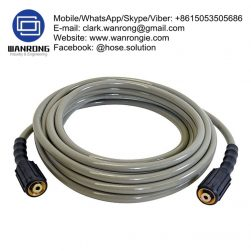Supply Hot Water Washdown Hose Assembly; Application: For cleaning of food processing equipment for meats (abattoirs, small goods) poultry, dairy plants and industrial kitchens; Also Available: 60°C PVC Park/Dairy wash down hose; Construction: Hose complete with Flow Boss Gun & Male BSP other end; Assembly WP: 250 psi (WP will vary depending on fitting/clamp selection); Temperature Range: 0°C to 80°C; ID Sizes: 20mm and 25mm; Standard Lengths: 20m