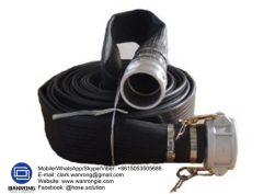 Supply Layflat Hose Assembly; Application: Discharge hose for pumps, dewatering, bypass hose, drainage systems, irrigation/watering; Also Available: With Camlocks/flanged hose tails medium duty, extra heavy duty mining layflat hoses; Construction: Layflat Hose fitted with Bauer Compatible Couplings with Ultralock Clamps; Assembly WP: 76mm-250 psi 100mm-174 psi; Temperature Range: -20°C to 80°C; ID Sizes: 76mm-200mm; Standard Lengths: 76mm to 100mm-25m, 150mm-20m