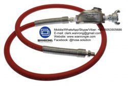 """Supply Whip Hose Assembly; Application: For use on constant vibrating pneumatic tools (air drills, pavement breakers etc) The heat treated steel nipple which is connected to the tool withstands vibration and impact for a longer period. Connect the other end of """"Whip Hose"""" to the air supply with the quick-acting coupling. """"Whip Hose"""" should remain permanently connected to the tool and should be the same diameter as the supply line hose. Hire market, construction, road construction, heavy engineering; Also Available: With Sure lock Couplings. Can be made to suit higher working pressures, and can also be made to length; Construction: Whip Hose fitted with Heat Treated Nipple & A-Type Coupling; Assembly WP: 200 psi; Temperature Range: -25°C to 75°C; ID Sizes: 12mm, 20mm & 25mm; Standard Lengths: 600mm"""